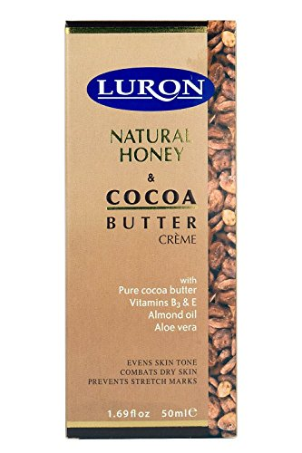 Luron Natural Honey and Cocoa Butter Cream - Evens skin tone, Combats dry skin,Prevents stretch marks - Enriched with Pure cocoa butter , Vitamins B3 & E , Almond Oil and Aloe Vera - 50 ml