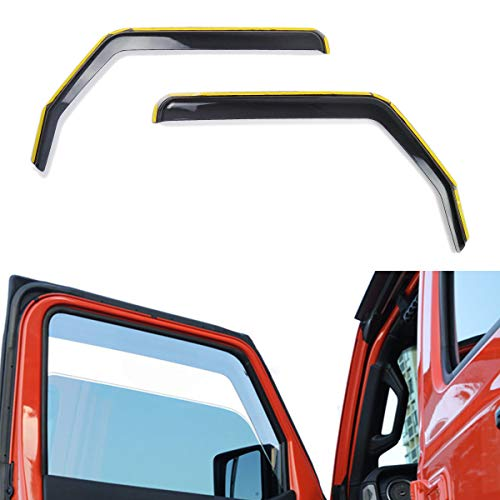 XBEEK Side Window in-Channel Deflectors Ventvisor Visor for 2018 2019 Jeep Wrangler JL Accessories (2-Door)