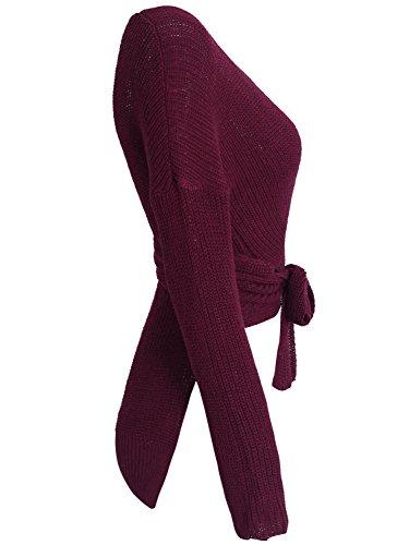 Asimmetrico Delle Bordeaux Manica Sexy Del Simplee Abbigliamento Pullover Lungo Donna Maglione Colture Del Orlo zAwn5qvB
