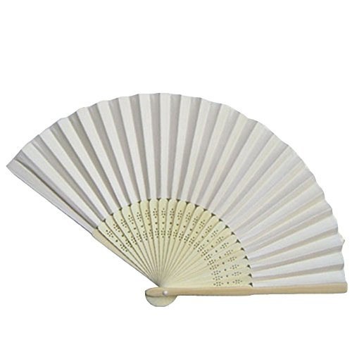 Topshop Ladies Bamboo & Paper Fan Hollow Out Hand Folding Fans Outdoor Wedding Party Favor (1, White) (Wedding Favors Fans compare prices)