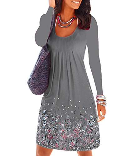 Hello Today Women's Top Long Sleeve Floral Printed Casual Tunic Dress Size XL Grey by Hello Today