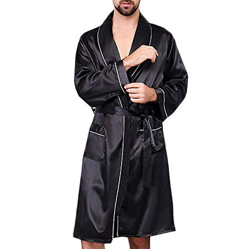 - MAGE MALE Men's Summer Luxurious Kimono Soft Satin Robe with Shorts Nightgown Long-Sleeve Pajamas Printed Bathrobes (Black, L)