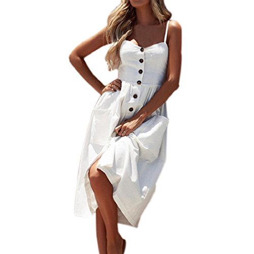 ShenPr Women Sling Dot Printing Buttons Off Shoulder Sleeveless Slim Waist Pocket Princess Dress (07 White, XL) - Mid Length Chiffon
