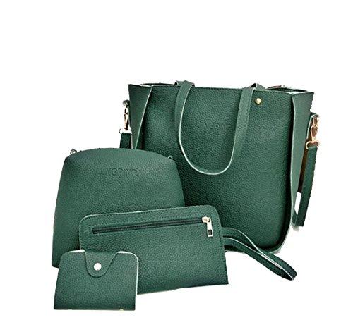 Luckywe Mujeres Bolso De Elegante Con Asas Y Bandolera Multicolor Bolso De Asas Kit de bolsos Tassels 4 Verde