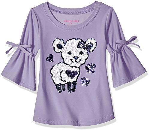 Colette Lilly Girls' Toddler Long Sleeve Sequin Tee, Dusty Purple Lamb, 3T