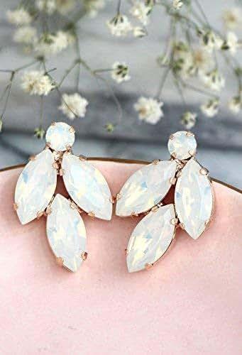 c7e9d217b Amazon.com: Bridal White Opal Cluster Stud Earrings, Swarovski ...