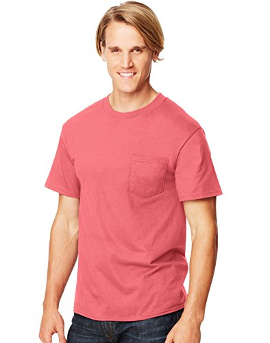 Hanes Beefy-T Adult Pocket T-Shirt, Charisma Coral, XL US (Chest 46-48)