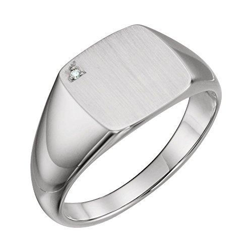 14kt White .006 CTW Diamond Men's Signet Ring - Ladies 14kt Gold Signet Ring