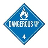 Labelmaster Z-PVD Dangerous When Wet Hazmat Placard, Worded, Permanent Vinyl (Pack of 25)
