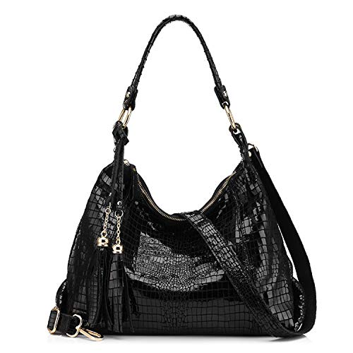 leather women large shoulder bag female crocodile pattern hobos bag with tassel women handbag,Black,CN ()