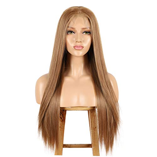 ALICE Lace Front Strawberry Blonde Wig, 13x6 Deep Part 22 Long Straight Synthetic Wig for Women, Pre Plucked with Natural Hairline and Baby Hair