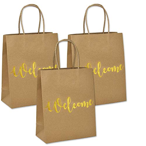 (24 Welcome Kraft Paper Wedding Gift Bags for Hotel Guests Birthday Party Favors Baby Boy Girl Shower Favor Graduation Bridal Shower Bridesmaids Welcome Printed in Gold Foil on Both Sides)