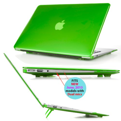 mCover iPearl Hard Shell Cover Case with FREE keyboard cover for 13.3-inch Apple MacBook Air A1369 & A1466 - GREEN (Lime Green Laptop Case 13)