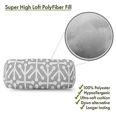 Majestic Home Goods Gray Aruba Indoor / Outdoor Round Bolster Pillow 18.5