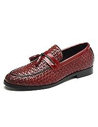 Tejido Vamp Zapatos del Barco con Zapatos de borlas Hombres de Punta Redonda de Cuero Mocasines Verano de Deslizamiento Plana en los Zapatos de Trabajo