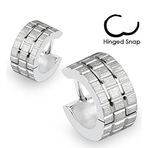 20G Pair of 316L Surgical Steel Hoop Earrings with Brushed Steel Grooved Square Grids
