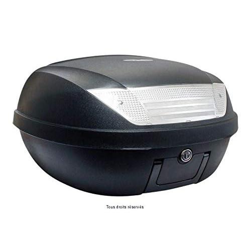S-LINE Top Case Moto 52L Noir Mat Dim : 58x45x32.5cm (2 Casques) Platine et Poignée