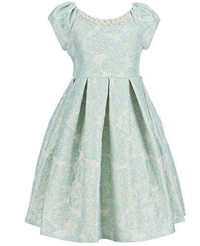 Bonnie Jean Easter Girls Jacquard Fall Holiday Special Occasion Dress, Gold/Mint (8, Gold/Mint)
