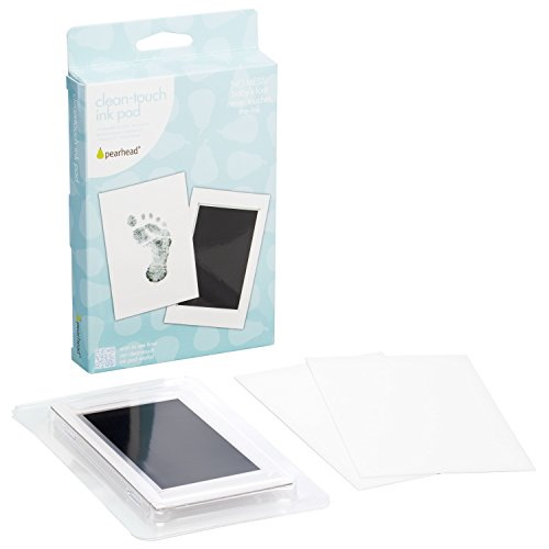 "Pearhead Newborn Baby Handprint or Footprint ""Clean-Touch"" Ink Pad, 2 Uses, Black"