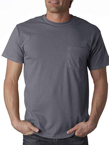 Fruit of the Loom Mens 5 oz. 100% Heavy Cotton HD Pocket T-Shirt(3931P)-Charcoal GREY-3XL