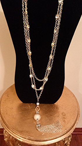 Faceted Crystals and Chain Statement Necklace