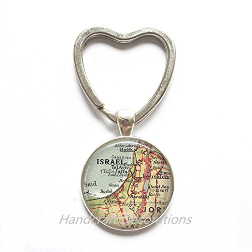 Charming Heart Keychain,Israel map Key Ring, Israel Key Ring, Israel map jewelry, Israel map Heart Keychain, A0297
