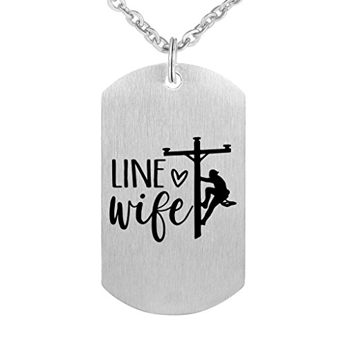Lineman Wife Gift Pendant Necklace Keyring Stainless Steel Dog Tag