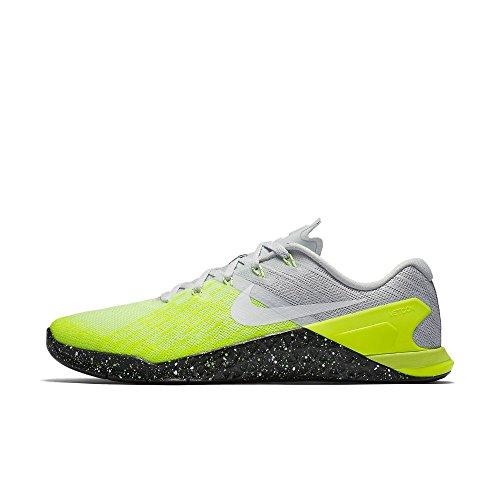Nike Mens Metcon 3 Training Shoes Track Platinum/Black/Volt Green 852928-006 Size 10.5 - Nike Flex Trainer 3 Men
