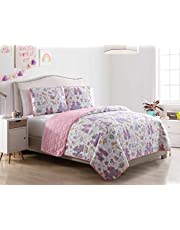 Kute Kids Unicorn Magic Castle Quilt Set, Includes Sham(s) Design Features a Castle, Rainbow, Crown and Unicorn – Available in Twin & Full/Queen