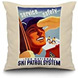 USA - Ski Patrol System - (artist: Maurer) - Vintage Advertisement (20x20 Spun Polyester Pillow, Whi