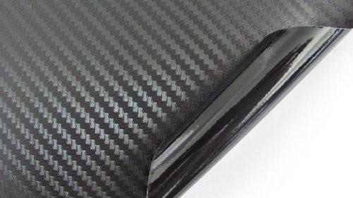 "LZLRUN 3d Black Carbon Fiber Vinyl Wrap - Outdoor Rated for Automotive Use - 12"" x 60"""