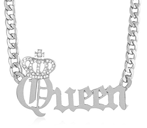 JOTW Silvertone Crowned Queen Pendant with a 20 Inch Adjustable Cuban Chain Necklace (B-1484)