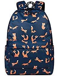 CIKER Women Backpack School Bag Cute Fox Pattern Printing Backpack Daily Waterproof Book Bag (Blue) (Fox Backpack Blue)