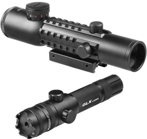4x28mm IR Electro Sight Multi-Rail Tactical Rifle Scope Green Laser Combo by BARSKA