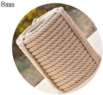 ZHWNGXO 8mm Starke natürliches Seil, 100% Jute Seil 10 m / 20m30m40m50m Anti Wind/Sonne beständig for die Dekoration (Size : 30m)
