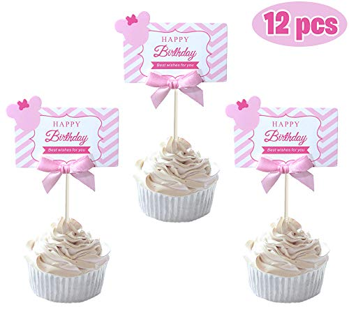 Party Hive 12pc Minnie Pink Ribbon Cards Cupcake Toppers for Birthday Party Event Decor
