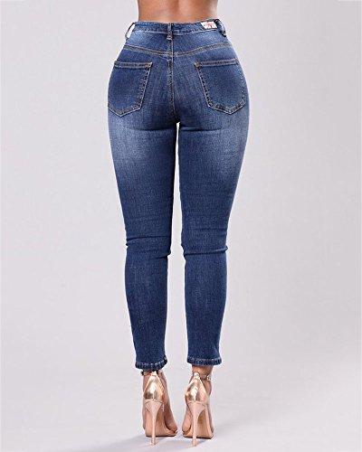 Slim Jeans Denim Fonc Femme en Haute Pantalons Dchirs Trous Pantalon Bleu Taille Broderie Crayon Rtro vppqwg