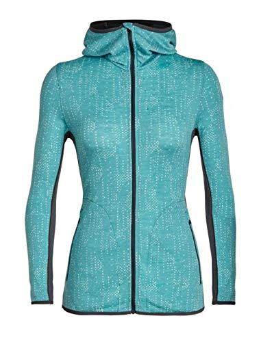 Icebreaker Away Long Sleeve Zip Hood Showers - Womens, Ocean/Monsoon, M, 104079301M
