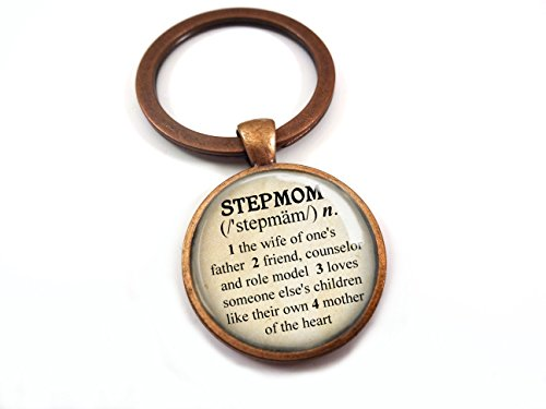 Stepmom Dictionary Definition Key Chain Charm in Antique Copper Finish 25mm Glass Dome Stepmother Gift by Little Gem Girl