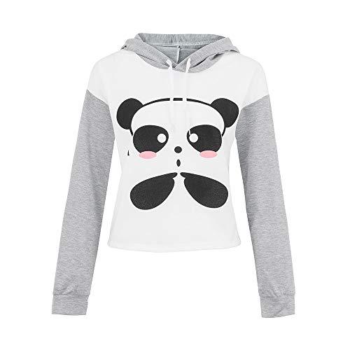 Womens Long Sleeve Cartoon Panda Printing Caps Sweatshirt Girl Blouse Tops