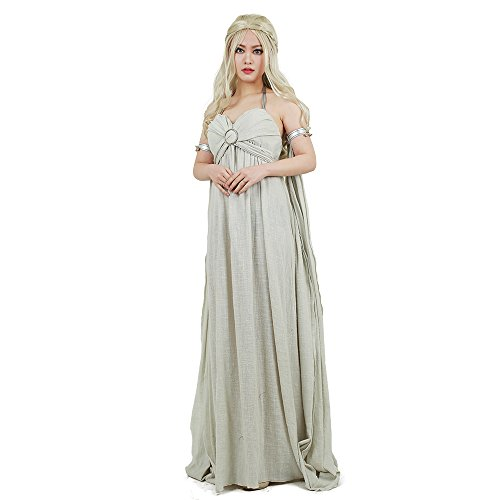 Miccostumes Women's Daenerys Targaryen Cosplay Grey Long Dress (3X/4X) -