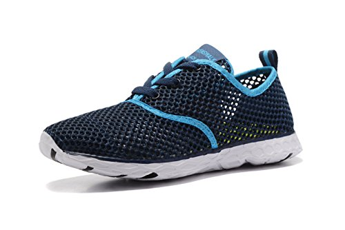 [Kenswalk Women's Aqua Water Shoes Lightweight Slip On Walking Shoes(US 7, Deep Blue 2017)] (Aqua Sea Pump)