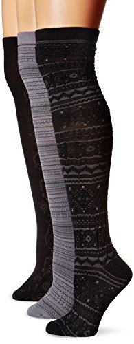 Muk Luks Women's Microfiber 3 Pair Black Pack Over The Knee Socks, Multi, One Size