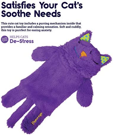 Petstages Purr Pillow Cat Toy For Nightime Play & Calm Comfort Featuring Soothing Noisemaker, Soft Plush Material, Medium, Purple 4