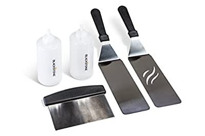 Blackstone 5 Piece Professional Grade Grill Griddle and BBQ Tool Kit with FREE GIFT - 2 Spatulas, 1 Chopper Scrapper, 2 Bottles for Condiments or Water or Oil and A Free Cookbook - Great for Griddle, Grill and Flat Top Cooking in the Backyard, Camping, Ta