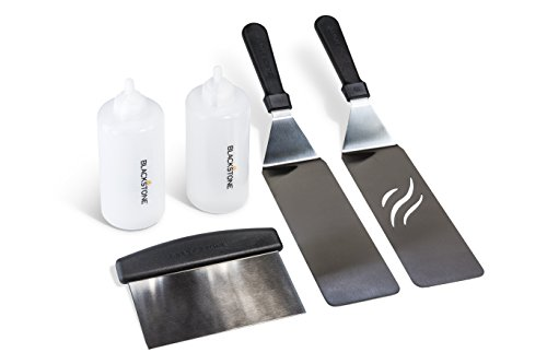 Blackstone 5 Piece Professional Grade Grill Griddle BBQ Tool Kit with FREE Recipe Book - 2 Spatulas, 1 Chopper Scrapper and 2 Bottles - Great for Flat Top Cooking, Camping and Tailgating