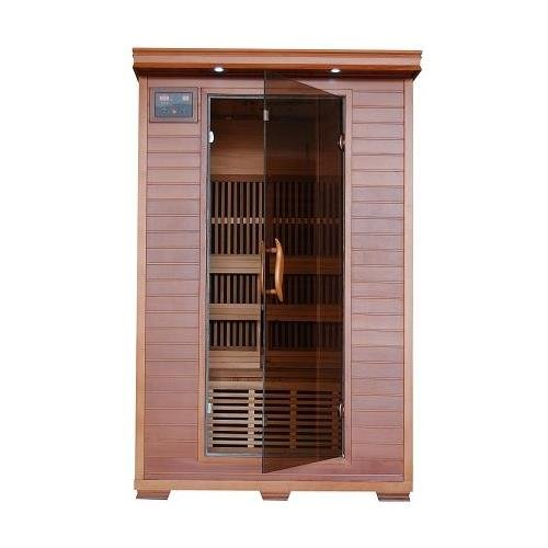 Cheap Yukon 2 Person Cedar Infrared Heatwave Sauna with 6 Carbon Heaters E-Z Touch Control Panel Oxygen Ionizer CHROMOTHERAPY System Recessed Interior Lighting and Built-In Sound System