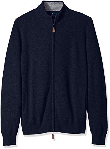 (BUTTONED DOWN Men's 100% Premium Cashmere Full-Zip Sweater, Midnight Navy, X-Small)