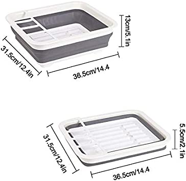 Escurreplatos plegable con escurridor Juego de escurridor plegable para secado port/átil ahorro de espacio bandeja de almacenamiento de cocina organizador de vajilla