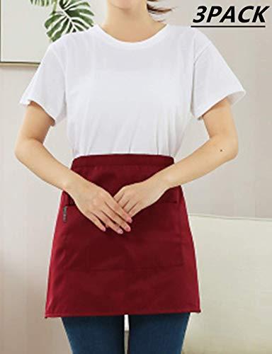 (3 Pack Kitchen Restaurant Waist Aprons with 3 Large Pockets for Women Men, Half Short Apron for Server Waiter Waitress,Deep Pockets for Holding Sever Book Guest Check Card Holder,Side Slit,Red)